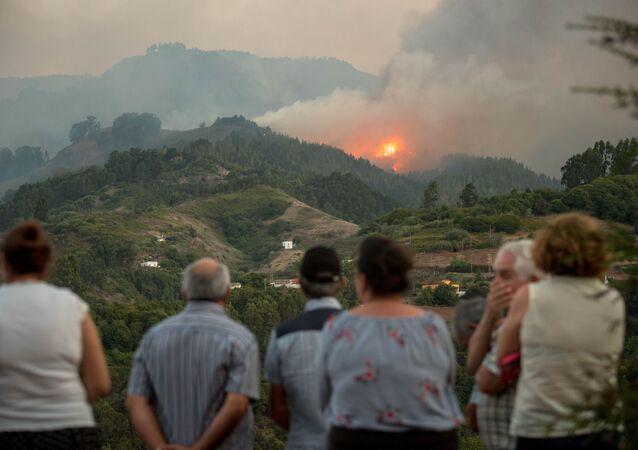 Incendio forestal en la isla española de Gran Canaria en agosto de 2019