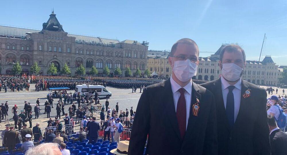 Jorge Arreaza, canciller venezolano en el Desfile de la Victoria en Moscú, Rusia