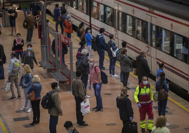 Andén en la estación de Atocha