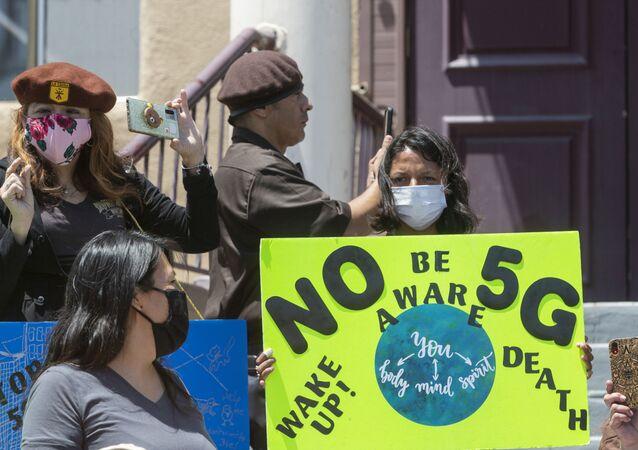 Una protesta contra 5G (archivo)