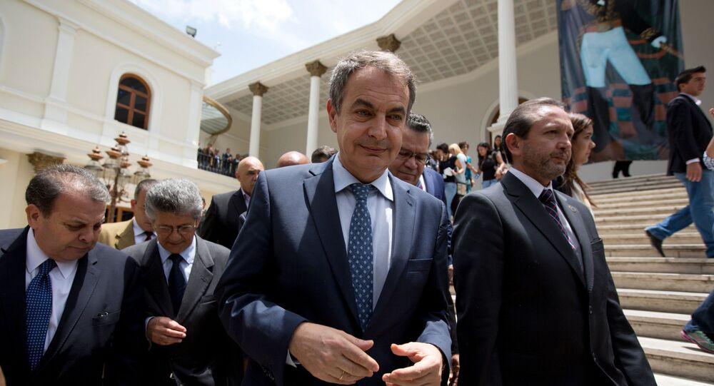 Expresidente español José Luis Rodríguez Zapatero en la Asamblea Nacional de Venezuela. Mayo de 2016