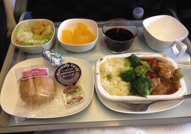 La comida en un avión