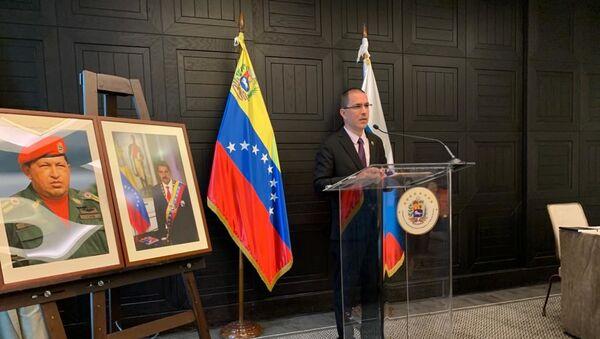 Jorge Arreaza, canciller venezolano, en una rueda de prensa en Moscú - Sputnik Mundo