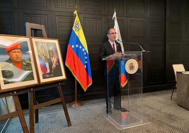 Jorge Arreaza, canciller venezolano, en una rueda de prensa en Moscú