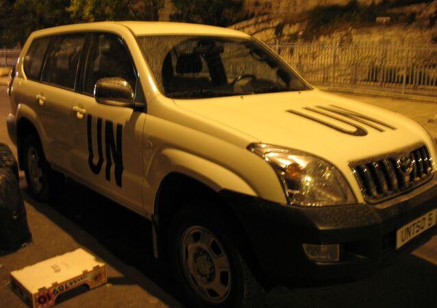 Un auto de la ONU