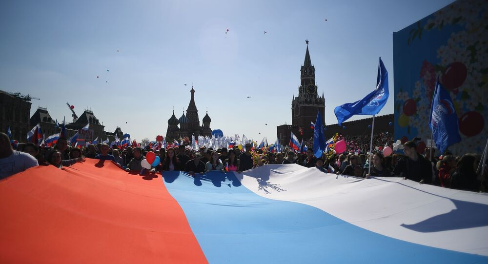 La manifestación del 1 de mayo en la Plaza Roja, Moscú