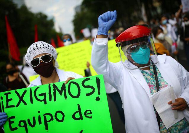 Protestas de los trabajadores de la Salud mexicanos