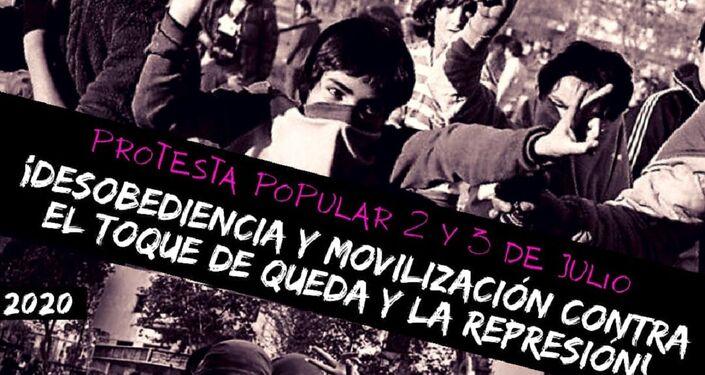 Afiche de llamado a jornada de protesta 2 y 3 de julio, Chile