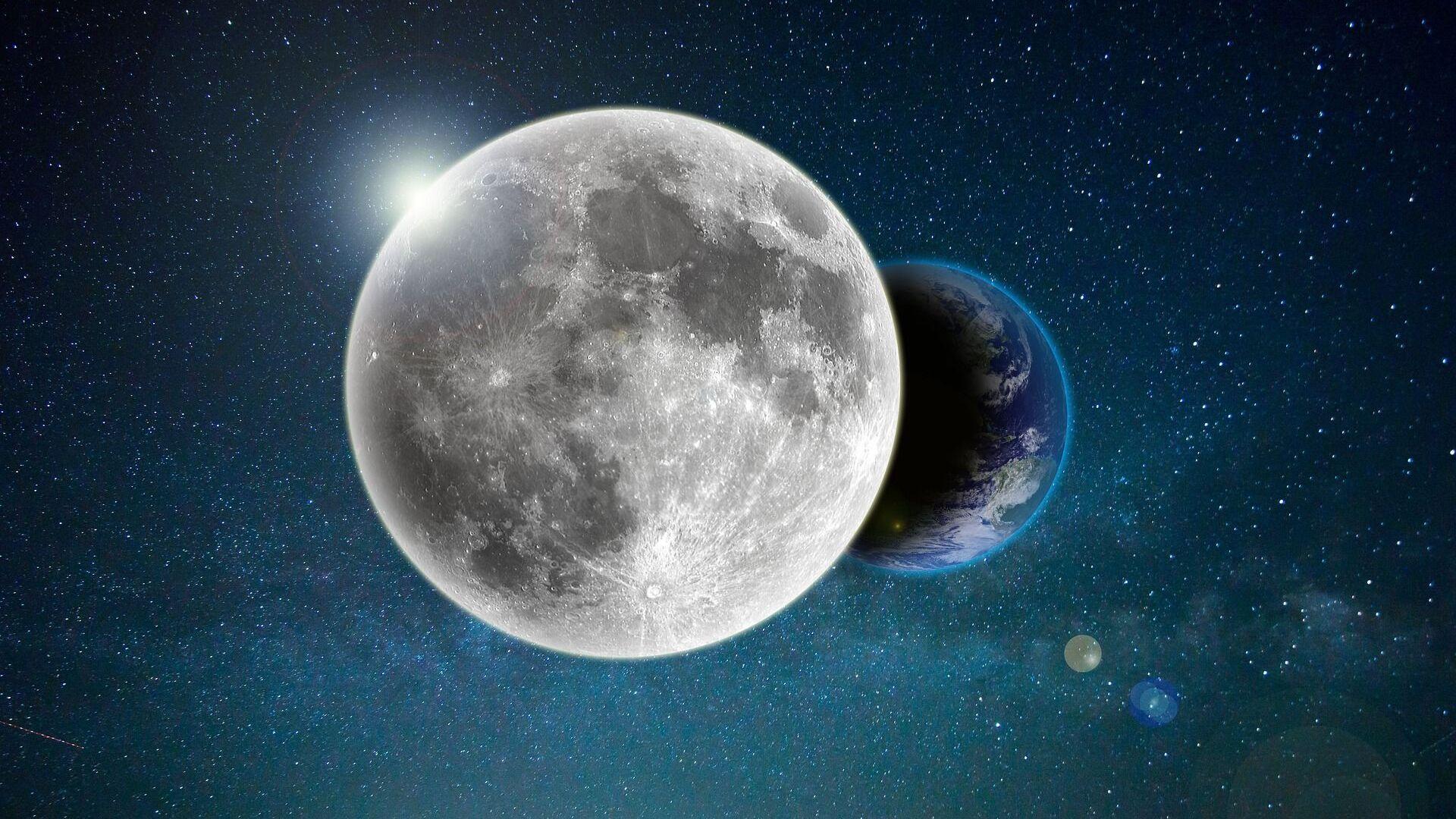 La Luna y la Tierra (ilustración) - Sputnik Mundo, 1920, 09.07.2021