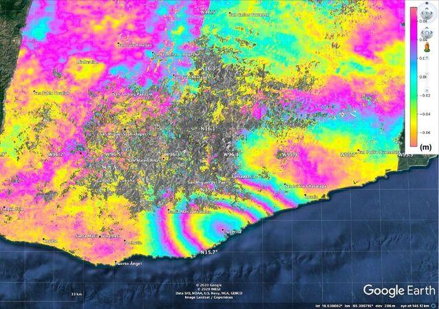 El desplazamiento de la superficie causado por el terremoto de magnitud 7,4 en México