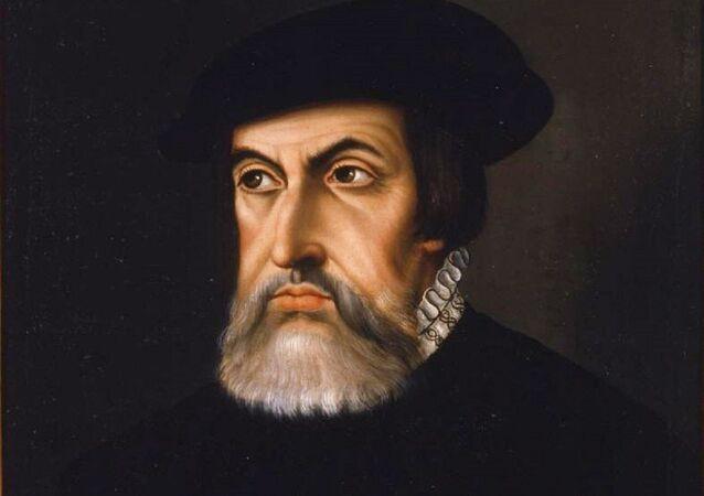 Retrato del conquistador español Hernán Cortés