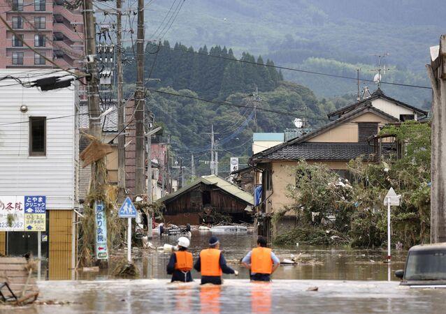 Inundación en Hitoyoshi, prefectura de Kumamoto, Japón