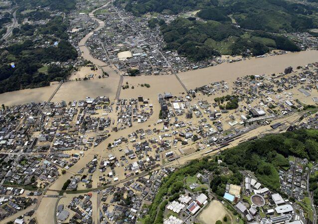 Inundación en Hitoyoshi, Japón