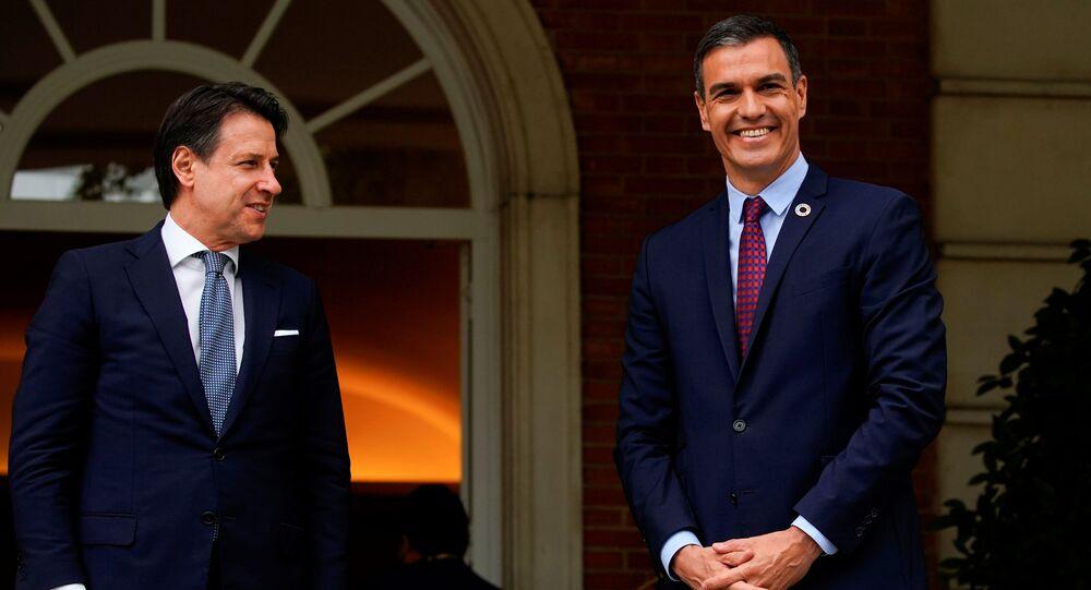 Primer ministro italiano y el presidente de España, Pedro Sánchez