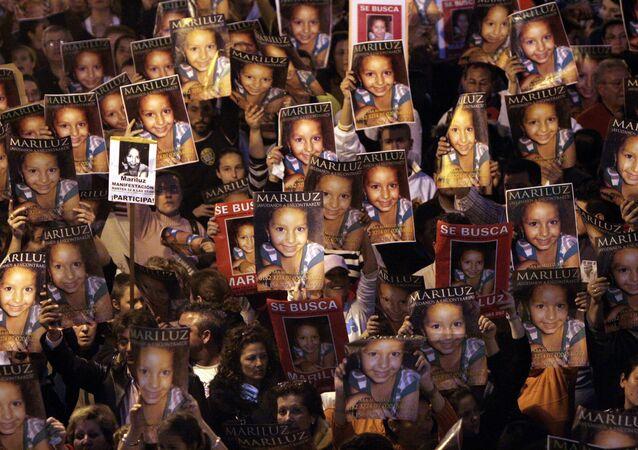 Manifestación de 2008 por la búsqueda de la niña Mari Luz Cortés, en Huelva