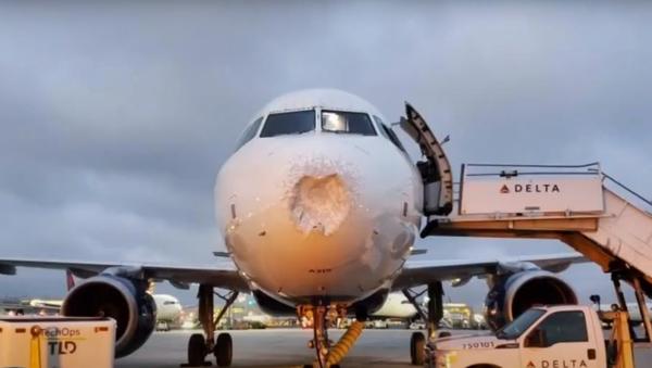 Un avión con el morro dañado - Sputnik Mundo