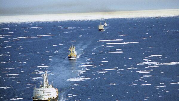 Караван судов на трассе Северного морского пути - Sputnik Mundo