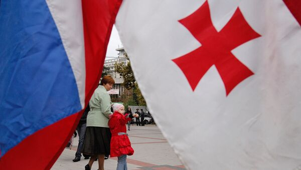 Banderas de Rusia y Georgia - Sputnik Mundo