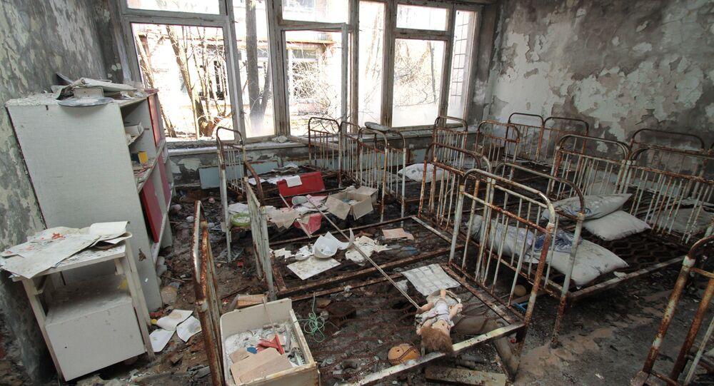 Una guardería en la ciudad de Prípiat en la zona de exclusión de Chernóbil