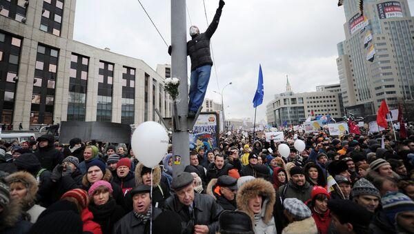 Protestas contra resultados de las elecciones parlamentarias en Rusia - Sputnik Mundo