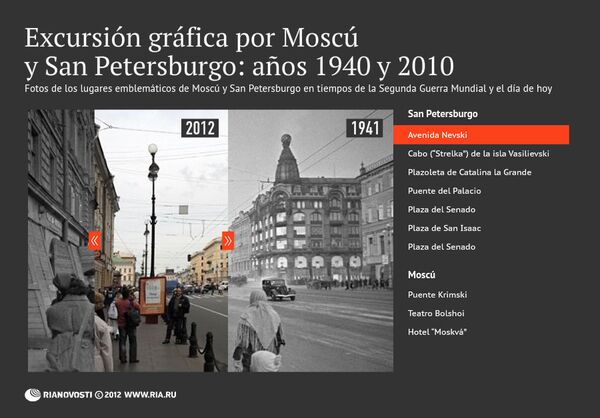 Excursión gráfica por Moscú y San Petersburgo: años 1940 y 2010 - Sputnik Mundo