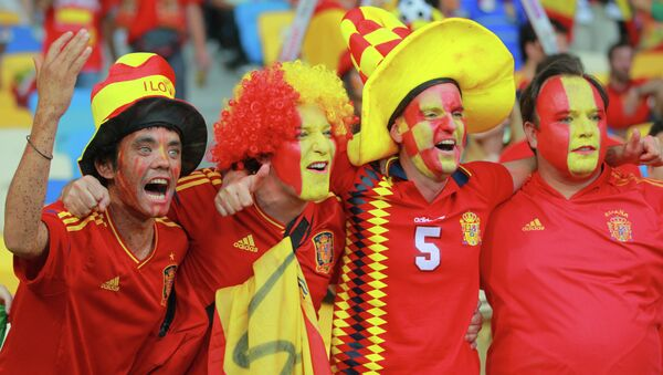 Celebración de la victoria de España en la Eurocopa 2012 - Sputnik Mundo