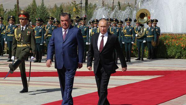 Vladímir Putin, Presidente de Rusia y Emomali Rahmón, Presidente de Tayikistán - Sputnik Mundo