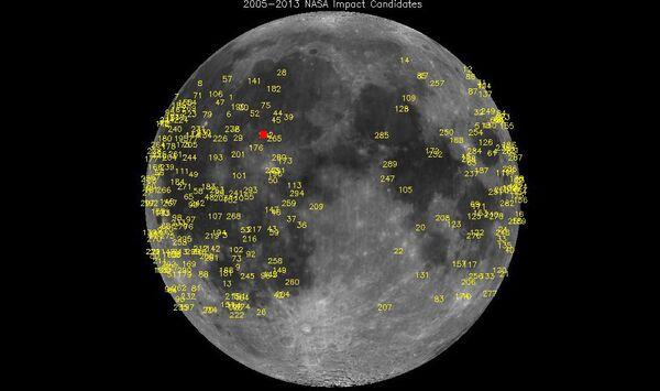 Lugares de caída de meteoritos en la Luna desde 2005, el cuadrado rojo señala el impacto del 17 de marzo - Sputnik Mundo
