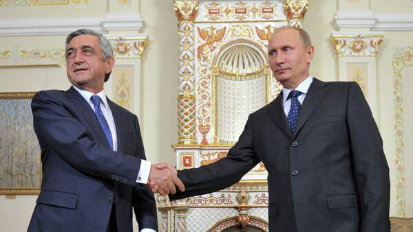 Los presidentes de Armenia y Rusia, Serzh Sargsyan y Vladímir Putin - Sputnik Mundo
