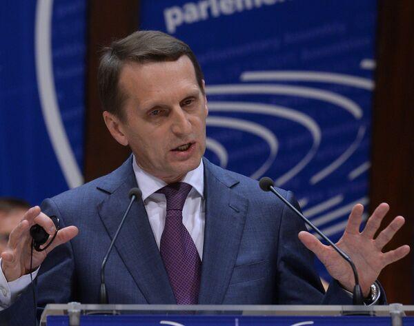 El presidente de la Cámara baja del Parlamento ruso Serguéi Narishkin en Estrasburgo - Sputnik Mundo