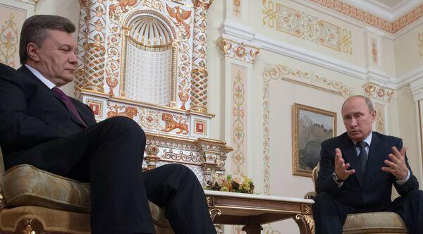 Los presidentes de Rusia y Ucrania, Vladímir Putin y Víctor Yanukóvich (archivo) - Sputnik Mundo