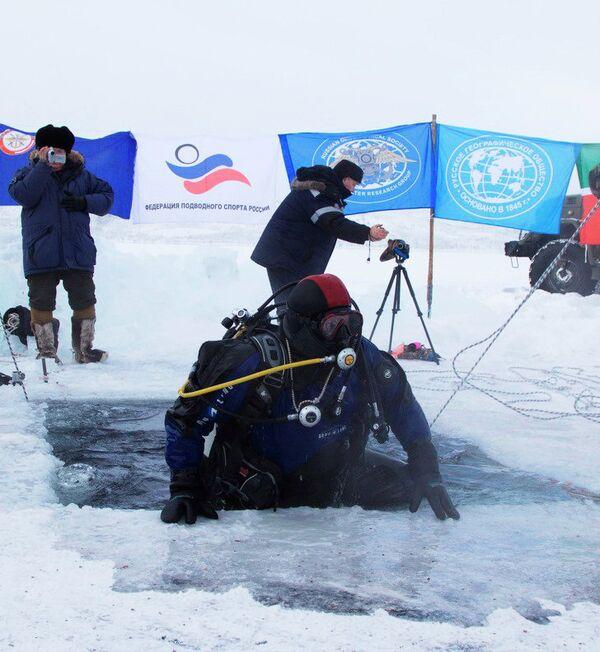 Buzos marcan nuevo récord de inmersión en aguas frías en Rusia - Sputnik Mundo