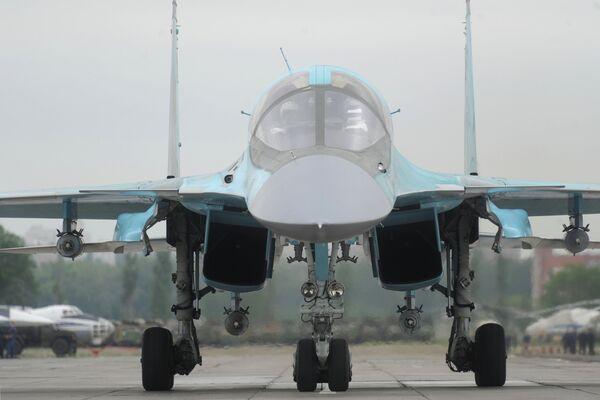 Caza-bombardero Su-34 en el aeródromo Baltimore de Voronezh. - Sputnik Mundo