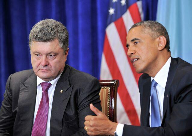 Presidente de Ucrania, Petró Poroshenko, y presidente estadounidense, Barack Obama (archivo)