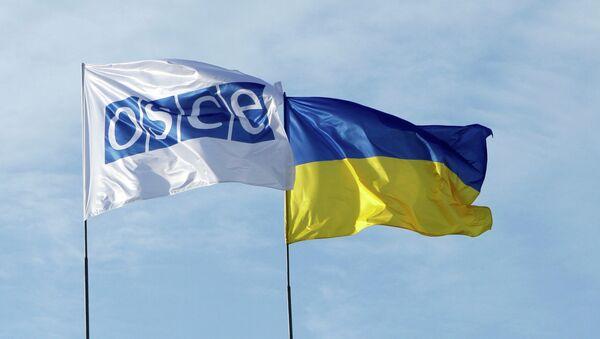 Флаги ОБСЕ и Украины - Sputnik Mundo