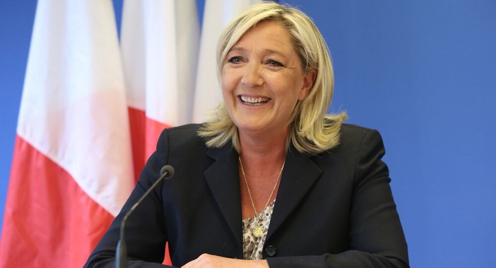 PRESS CONFERENCE GIVEN BY MARINE LE PEN AT THE 'FRONT NATIONAL' HEADQUARTERs.