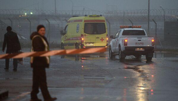 El lugar del accidente del avión Falcon en el aeropuerto Vnúkovo (archivo) - Sputnik Mundo