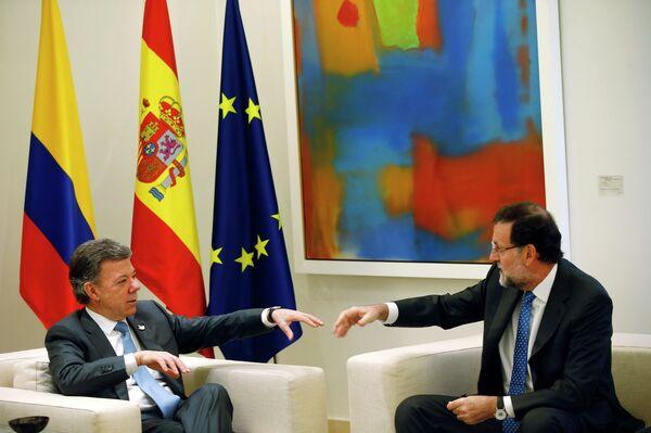 Presidente de Colombia Juan Manuel Santos y presidente de España Mariano Rajoy - Sputnik Mundo