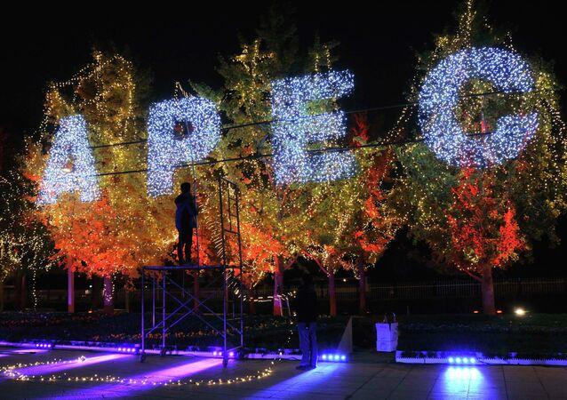 Las letras APEC sobre los árboles