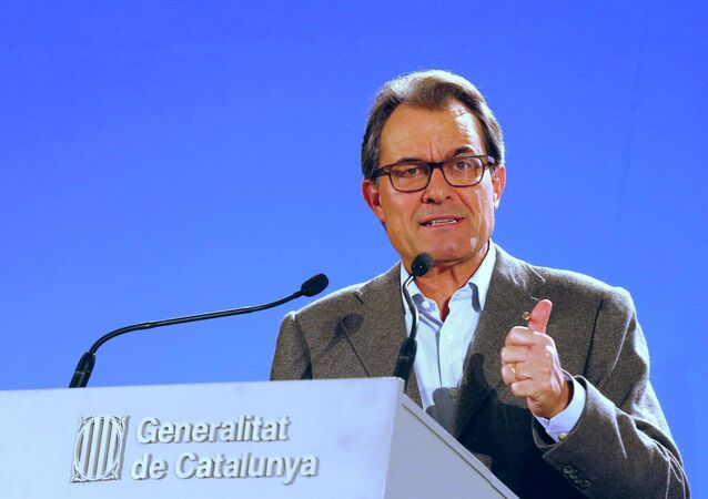 Artur Mas, Presidente de Cataluña, en el centro de prensa en Barcelona (Archivo)