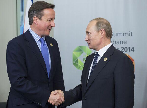 David Cameron, primer ministro británico, y Vladímir Putin, presidente de Rusia - Sputnik Mundo