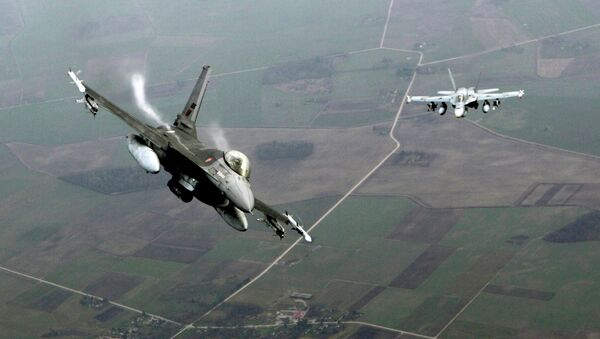 Portuguese Air Force fighter F-16 (L) and Canadian Air Force fighter CF-18 Hornet patrol over Baltics air space, from the Zokniai air base near Siauliai November 20, 2014. - Sputnik Mundo